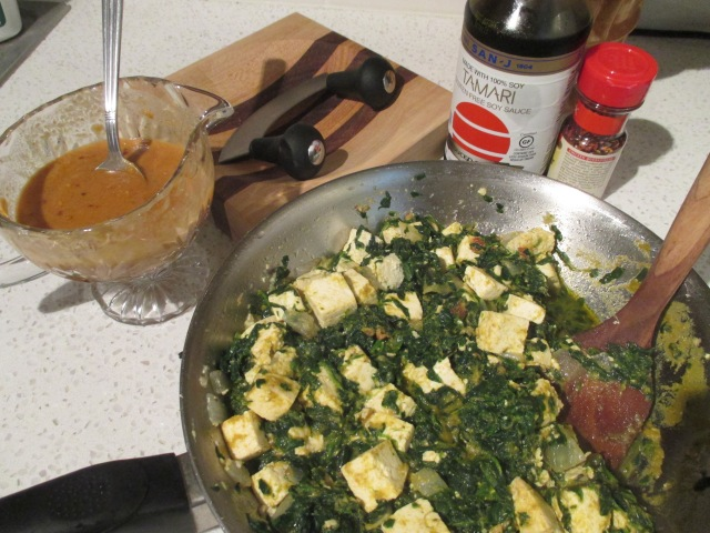 Spinach Tofu Curry with Peanut Sauce